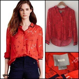 Anthro Maeve Fashion Paris London Milan Shirt